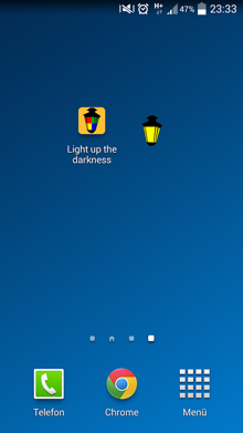 Startscreen der Android application light up the darkness